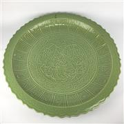 Sale 8607R - Lot 39 - Impressive Celadon Glaze Charger with Floral Motifs (D: 75cm)