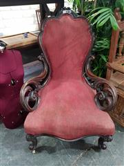 Sale 8697 - Lot 1661 - Caved Mahogany Armchair on Cabriole Legs