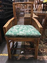 Sale 8795 - Lot 1094 - Cane Five Piece Dining Setting incl. Round Glass Top Table & Four Chairs