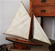 Sale 8825A - Lot 101 - Handmade model timber sailing boat on a stand