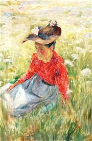 Sale 9013 - Lot 565 - French School - Dreaming in the Field 55 x 37 cm (frame: 72 x 54 x 4 cm)