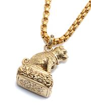 Sale 9046 - Lot 542 - AN ANTIQUE STYLE GILT FOB SEAL ON CHAIN; 4cm tall dog form fob with inscribed seal on a belcher chain, length 60cm.