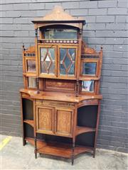 Sale 9048 - Lot 1054 - Late Victorian Inlaid Rosewood Parlour Cabinet, with high mirror back shelf, above two mirror panelled doors & further shelves, abov...