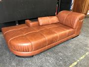 Sale 9043 - Lot 1077 - Modern Leather Chaise with Bookshelf (h:74 x w:215 x d:110cm)