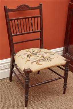 Sale 9108H - Lot 60 - A tapestry upholstered spindle back dining chair, Height of back 78cm