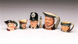 Sale 9110 - Lot 364 - Small collection of miniature Royal Doulton character jugs inc Henry VIII and others (largest - H:10cm)