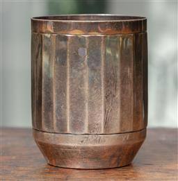 Sale 9120H - Lot 103 - A French sterling silver fluted tumbler, mark to base, D Fres, and rim, Height 7.5cm, Weight 88g