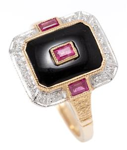Sale 9164J - Lot 404 - A LATE DECO STYLE RUBY DIAMOND AND ONYX RING; set in 9ct gold with a central baguette cut ruby to emerald shape onyx plaque and surr...