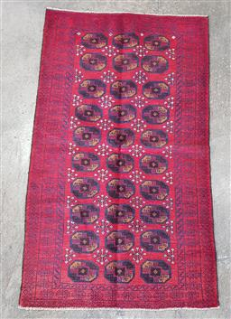 Sale 9188 - Lot 1496 - Persian hand knotted pure wool Bokhara in red & blue tones (140 x 81cm)