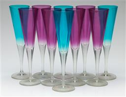 Sale 9209 - Lot 80 - A collection of ten glass champagne flutes in purple and blue (H:23.5cm)