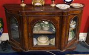 Sale 7962B - Lot 47 - Victorian Walnut Marquetry Credenza with Three Glass Panel Doors