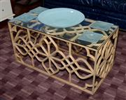 Sale 8098A - Lot 91 - Coffee Table with Pierced Geometric Decoration and glass top