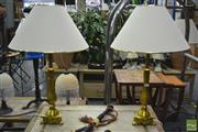 Sale 8289 - Lot 1021 - Pair of Column Form Metal Lamps in Gold (5732g)
