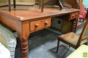 Sale 8455 - Lot 1049 - Early Cedar 2 Drawer Desk on Turned Legs with Stamp to Drawer