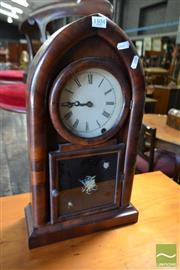 Sale 8485 - Lot 1031 - 19th Century American Jerome & Co Mantle Clock, in gothic style with veneered case, painted dial & door panel