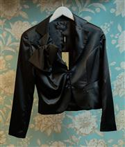 Sale 8474A - Lot 83 - A gorgeous Studibaker black bolan fitted jacket featuring large bow on shoulder detail, lovely soft satin/polyester fabric - Conditi...