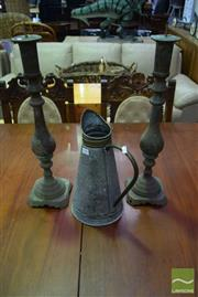Sale 8523 - Lot 1057 - Pair Of Candle Holders With A Jug