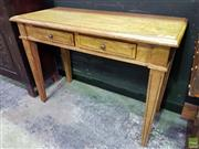 Sale 8562 - Lot 1005 - Timber Hall Table with Two Drawers on Tapering Legs