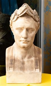 Sale 8703A - Lot 2 - A plaster bust of an emperor in typical pose, 83cm H 29 W D x 27cm