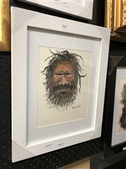 Sale 8779 - Lot 2007 - Greg Lipman - Aboriginal Elder 3, pen, ink and gouache, 28 x 36cm, signed