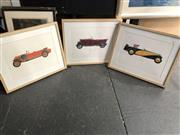 Sale 8903 - Lot 2079 - Set of 3 Vintage Car Prints - Tatra 1925, Vauxhall 1924 (30/98) & Delage 1933 (D8SS100)