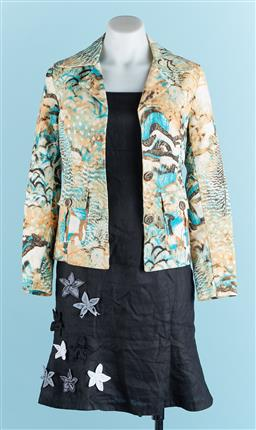 Sale 9091F - Lot 56 - A COVERS SUIT ALINE DRESS; with patchwork flowers together with Jacket, size XS