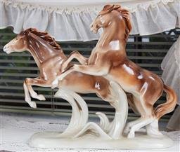 Sale 9103M - Lot 438 - A Royal Dux figural group of galloping horses, Height 31cm x Width 36cm