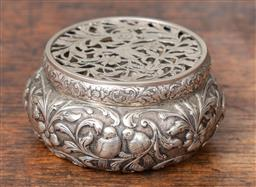 Sale 9120H - Lot 104 - An antique hallmarked Dutch silver embossed pot pourri with floral, birds and farm scenes, Diameter 10cm, makers mark to base, weigh...