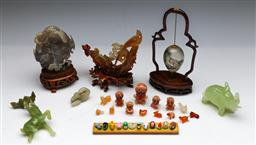 Sale 9144 - Lot 102 - A collection of miniature Chinese stone wares inc mostly animals - some minor losses