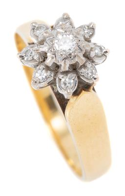 Sale 9168J - Lot 339 - A VINTAGE 18CT GOLD DIAMOND CLUSTER RING; floral cluster illusion set with a round brilliant cut diamond of approx. 0.03ct to a surr...