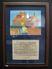Sale 8125 - Lot 95 - The Simpsons - original hand-painted production cell. Mr Plow, episode 9F07 airdate 3 December 1992, 4th season, Homer Simpson