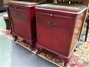Sale 8562 - Lot 1025 - Pair of Timber Bedsides with Single Drawer and Door and Brass Fittings
