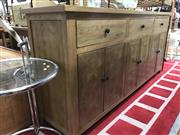 Sale 8817 - Lot 1076 - Elm Parquetry Sideboard with Three Drawers & Six Doors (H: 90.5 W: 200 D: 45cm)