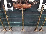 Sale 8904 - Lot 1006 - Brass Four Tier Hall Stands with Glass Shelves
