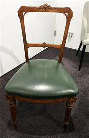 Sale 9031H - Lot 29 - 1850s Oak wood chair with green leather H 87cm x W 48cm at widest point -