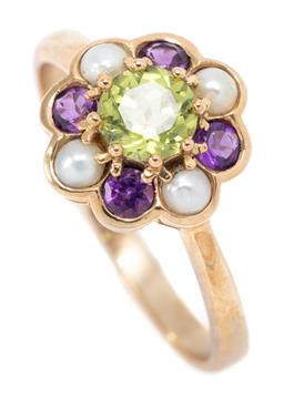 Sale 9164J - Lot 471 - A SUFFRAGETTE COLOURED GEMSTONE FLORAL CLUSTER RING; centring a round cut peridot to scalloped surround of round cut amethysts and s...