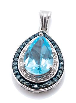 Sale 9221 - Lot 322 - A SILVER TOPAZ AND DIAMOND PENDANT; pear shape drop centring a pear cut blue topaz surrounded by 12 rough diamonds and blued border...