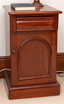 Sale 9260M - Lot 82 - A Mahogany bedside cabinet consisting of a single drawer over a cupboard door H 70cm W 41cm D 43cm