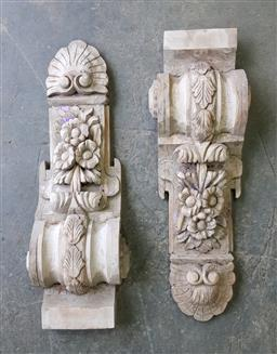 Sale 9255 - Lot 1403 - Pair of carved timber corbels (h:76  x w:27cm)