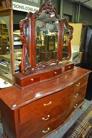 Sale 8093 - Lot 1468 - Large 9 Drawer Mahogany Dressing Chest w Carved Winged Mirrors