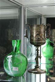 Sale 8098 - Lot 28 - Silver Plated Victorian Trophy with Mary Gregory Style Glass Vase