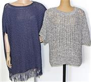 Sale 8173F - Lot 343 - MASSIMO DUTTI  KNITTED TOP AND PONCHO: Italian  yarn, short sleeve top new with tags (M).