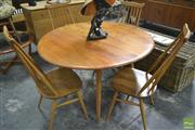 Sale 8260 - Lot 1060 - Quality Ercol Drop Leaf Table & Four Chairs