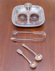 Sale 8346A - Lot 77 - A pair of silver Georgian mustard spoons, a pair of sugar nips, an eggcup, and a pair of napkin rings