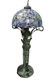 Sale 8649R - Lot 11 - Leadlight Shade Lamp with Heavy Metal Floral Base