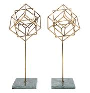Sale 8630A - Lot 42 - A pair of interesting abstract cubist form metal sculptures raised over mottled green marble square bases, each height 45cm.