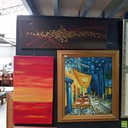 Sale 8636 - Lot 2048 - 3 Artworks: One Framed Parisian Scene & 2 Abstract Canvases a/f