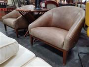 Sale 8680 - Lot 1089 - Pair of Leather Tub Chairs
