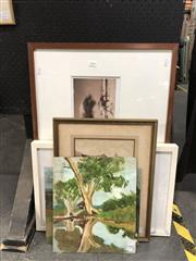 Sale 8759 - Lot 2068 - Group of Assorted Artworks incl. original oil paintings by N K Levien, C19th watercolour, photography (2), -