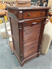 Sale 8872 - Lot 1024 - Tambour Front Cabinet - Locked (H: 120 W: 60 D: 45cm)